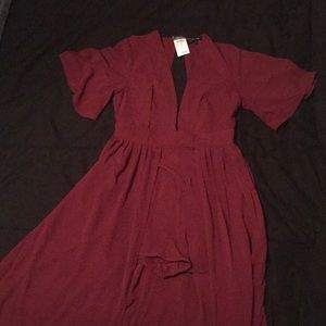 NEVER WORN size large red maxi romper low cut